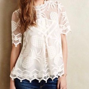 Anthropologie HD in Paris Pina Pineapple Lace Top